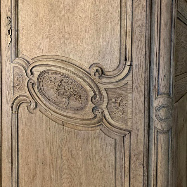 19th Century Country French Normandy Stripped Oak Armoire For Sale In Dallas - Image 6 of 13