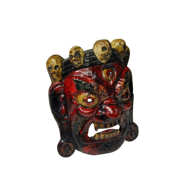 Traditional Tibetan ceremony mask, hand carved from solid wood, painted red and light yellow, a great item to collect....