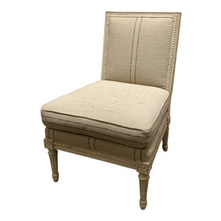 Linen Slipper Chair by Hickory Chair For Sale