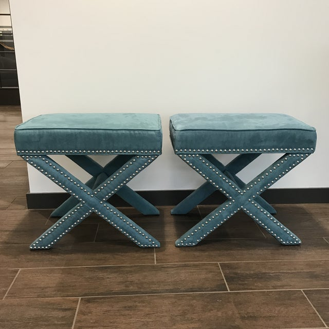 Vintage Teal Velveteen Ottomans - a Pair For Sale In Raleigh - Image 6 of 6