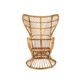 1950s Mid-Century Modern Franco Albini Style Rattan Bamboo Peacock Chair For Sale