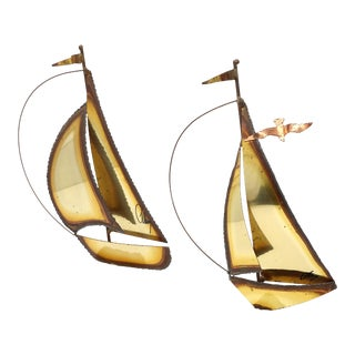 Vintage Metal and Stone Sailboat Sculptures by Jason Mario - Set of 2 For Sale