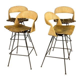 Arthur Umanoff Bar Stool, Woven Jute & Steel, Usa 1950s For Sale