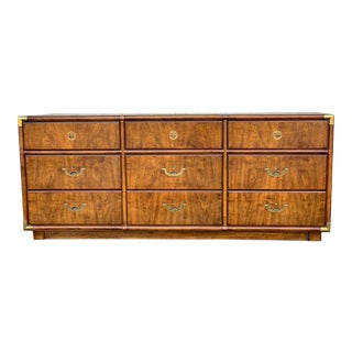 1970s Drexel Heritage Mid Century Modern Accolade II Campaign Low 9 Drawer Dresser For Sale