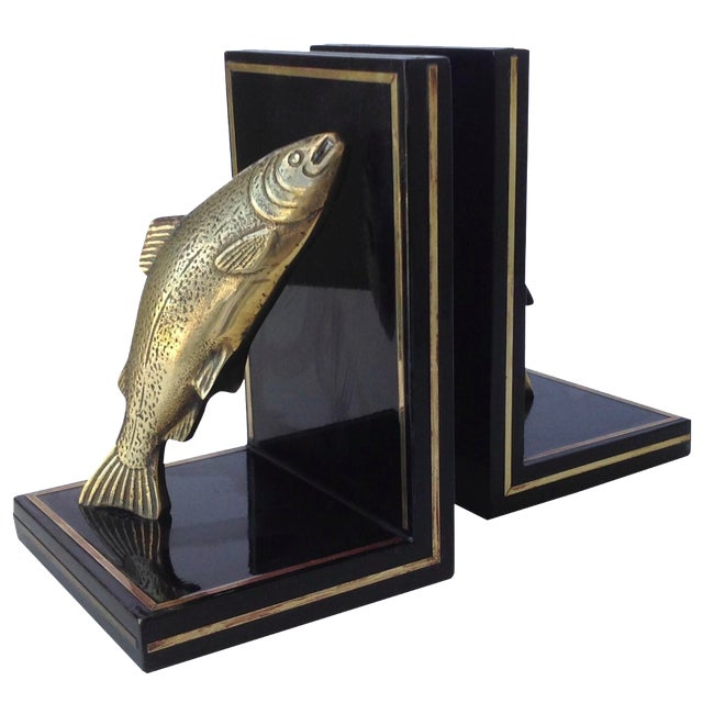 Brass Trout Fish & Wood Bookends - A Pair For Sale
