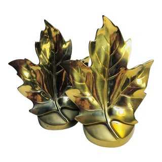 Traditional Mid Century Brass Maple Leaf Bookends - a Pair For Sale