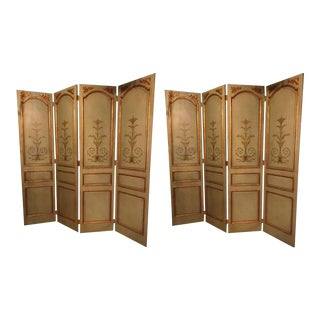 Pair of Italian Paint Decorated & Parcel-Gilt Monumental Screen or Room Dividers For Sale