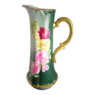 Limoges Pitcher : Vintage T & V Limoges Hand Painted Pink Roses Tankard Dark Green Vase Signed Reiss