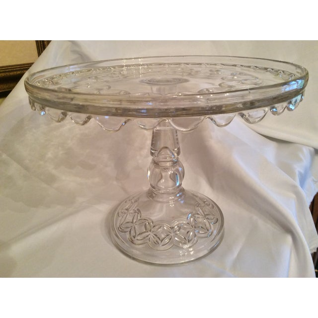 Transparent Vintage Early American Pressed Pedestal Glass Cake Stand For Sale - Image 8 of 8