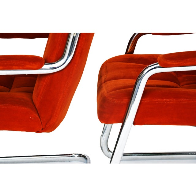 Pair Chrome Milo Baughman-Style Chairs - Image 8 of 10