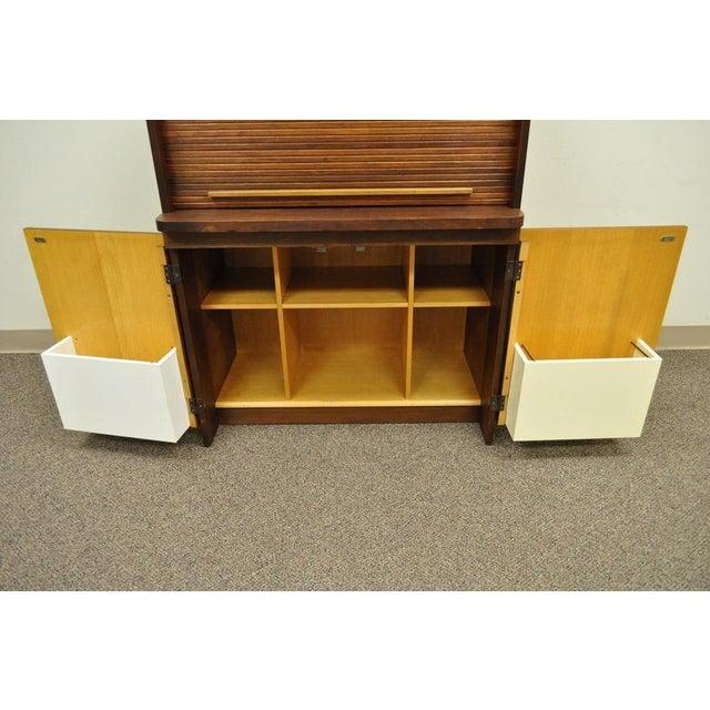 1960's Danish Style Teak Tambour Roll Top Secretary Desk For Sale - Image 9 of 13