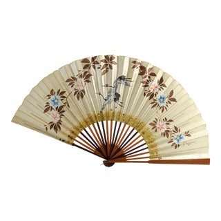 Vintage Hand Painted Fan For Sale