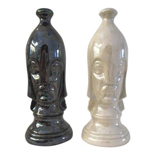 Duncan Mid-Century Ceramic Pawn Chess Pieces - a Pair For Sale