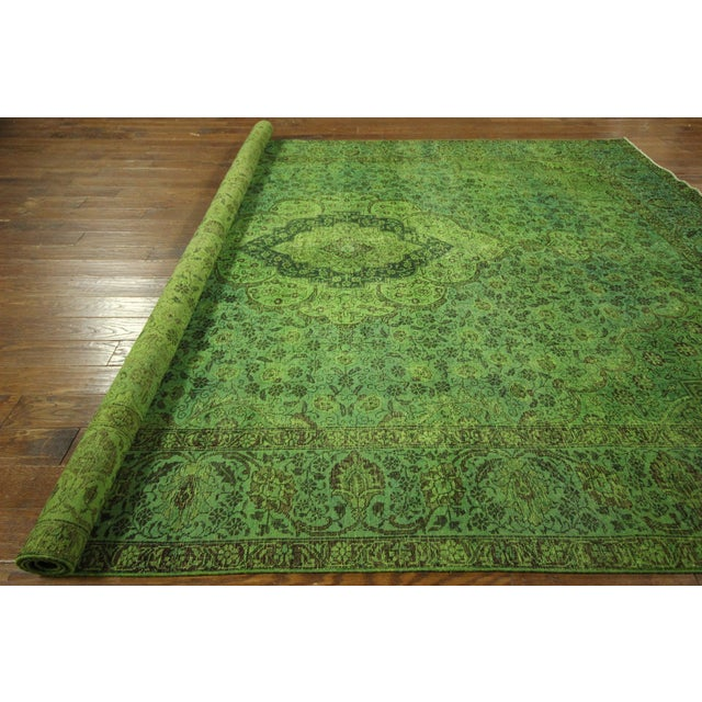 "Lime Green Overdyed Tabriz Area Rug - 9'5"" x 12' - Image 10 of 10"