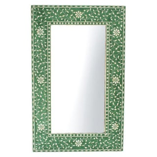 Green Floral Inlay Mirror Frame For Sale