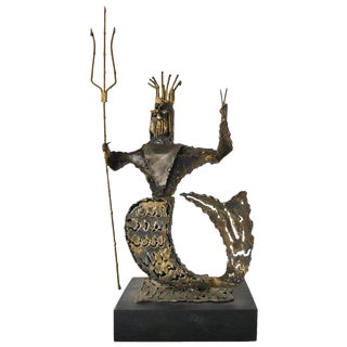 1965 Brutalist Metal Neptune Sculpture by Jack Hanson For Sale