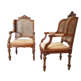 Circa 1910 Italian, Renaissance Style Pair of Arm Chairs For Sale