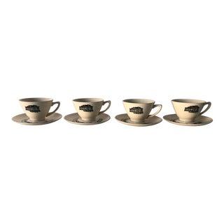 Midcentury Americana Decoration Teacups & Saucers 9 Pieces For Sale