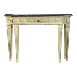 Painted Marble Top Console Table
