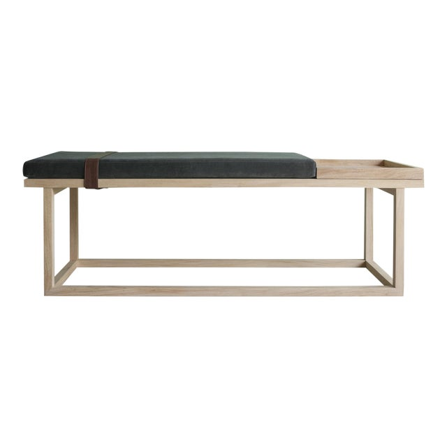 Ebb and Flow Tray Bench in Charcoal Grey For Sale