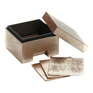 Silver Leaf Coasters in Box in Taupe - Set of 8 For Sale