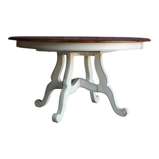 French Country Ethan Allen Round Extension Dining Table For Sale