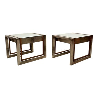Arturo Pani Mexican Modern Stainless Brass Side Tables 1960s For Sale