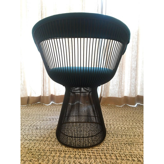 Vintage Mid Century Warren Platner Teal Dining Chairs- Set of 8 For Sale - Image 9 of 12