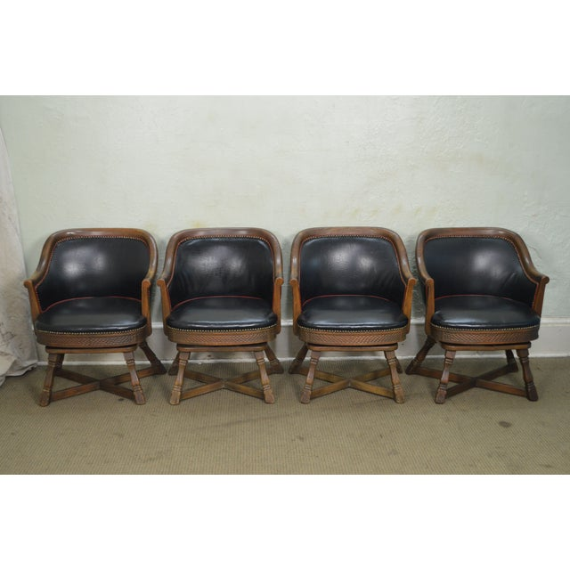 STORE ITEM #: 16272 Romweber Viking Oak Set of 4 Swivel Club Chairs AGE/COUNTRY OF ORIGIN – Approx 65 years, America...