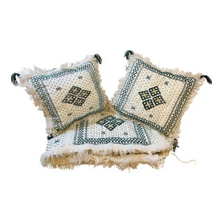 Vintage Beaded Green Berber Moroccan Blanket and Matching Pillows - a Pair For Sale