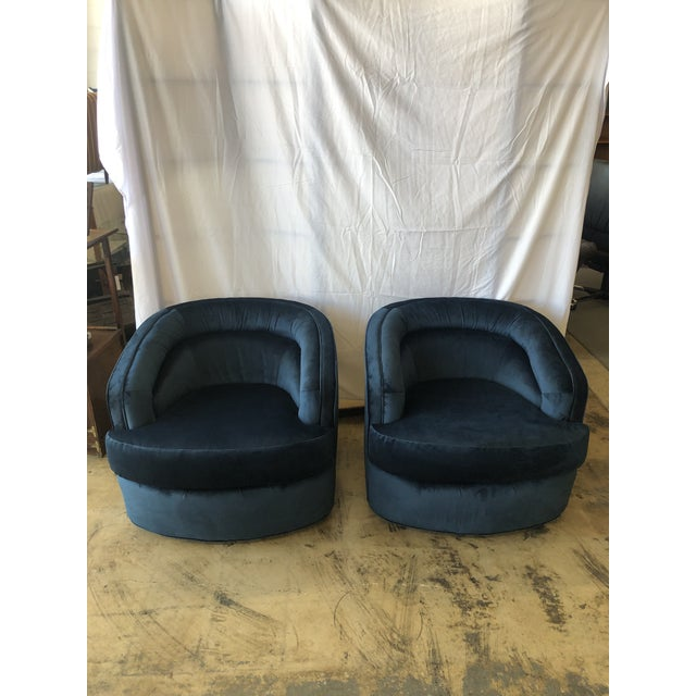 1970s Velvet Club Chairs - A Pair For Sale - Image 9 of 9