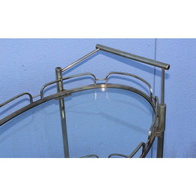Maxwell Phillips Signed Maxwell-Phillips Patinated Brass Bar Cart For Sale - Image 4 of 13