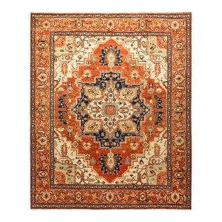 One-Of-A-Kind Oriental Serapi Hand-Knotted Area Rug, Crimson, 8' 0 X 9' 8 For Sale