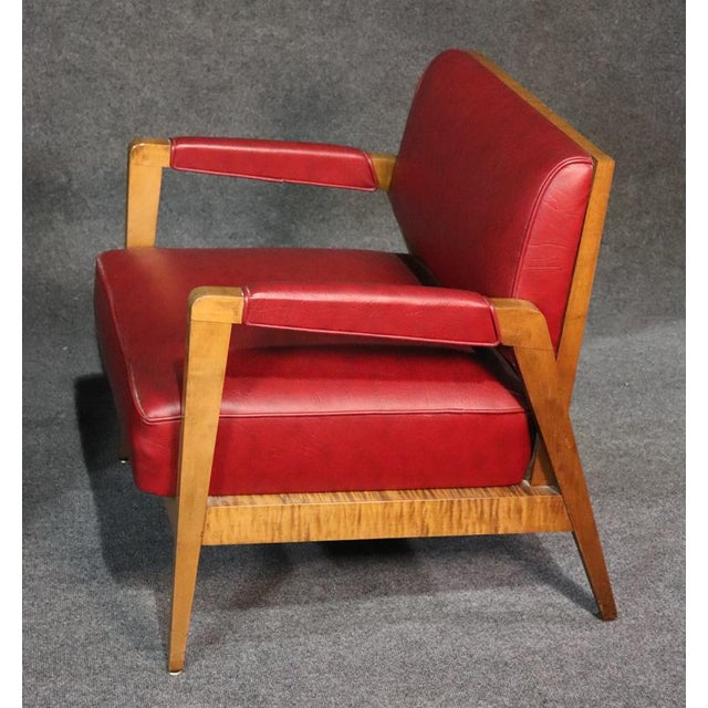 Red Mid-Century Modern Tiger Maple Lounge Chairs - a Pair For Sale - Image 8 of 10