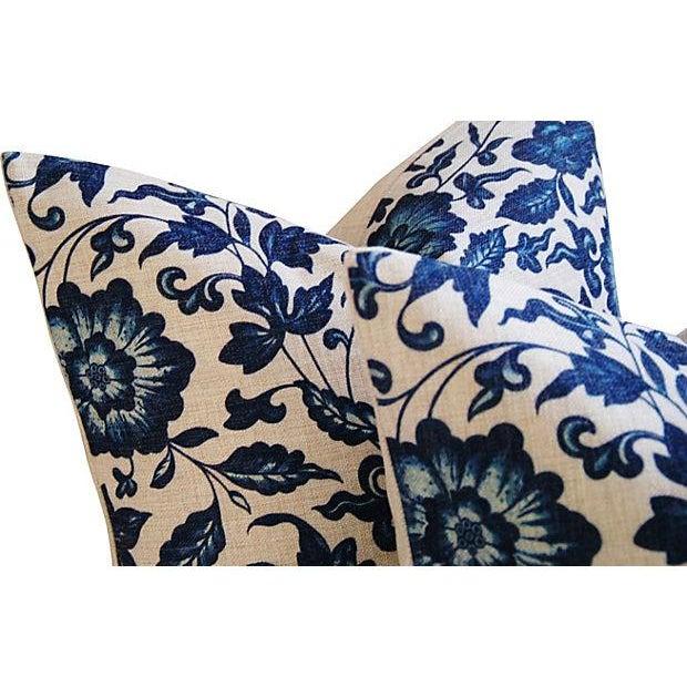 Indigo & White Down & Feather Pillows - A Pair - Image 4 of 7