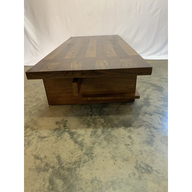 1970s 1970s Lane Brutalist Walnut and Oak Coffee Table For Sale - Image 5 of 8
