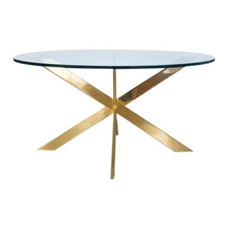 1970s Leon Rosen Double X Brass Table For Sale