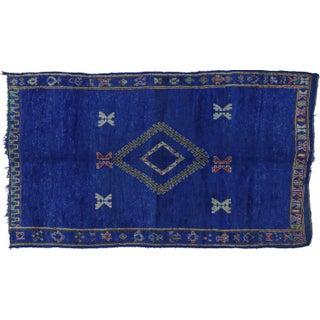 "Vintage Berber Moroccan Blue Rug, 6'8"" X 11'2"""