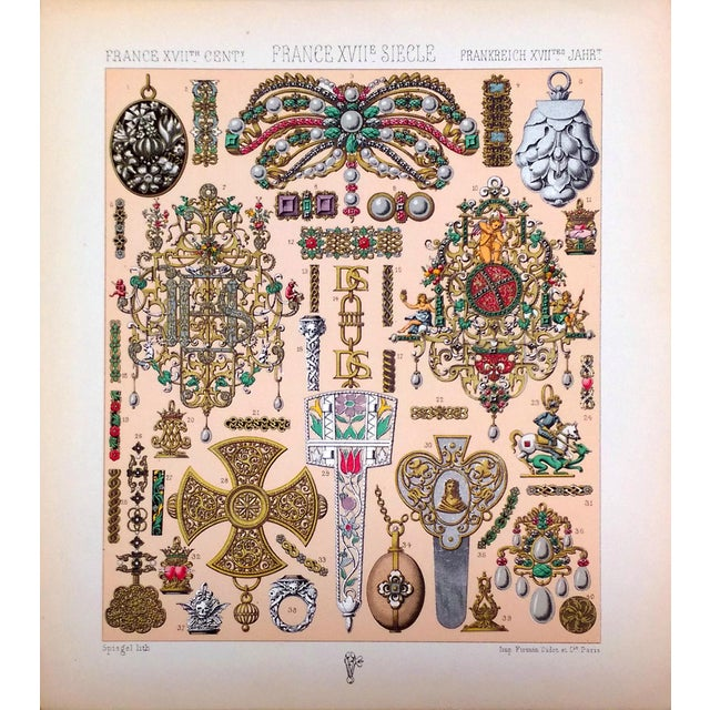 1888 Jewelry of 17th C. France Lithograph - Image 1 of 6