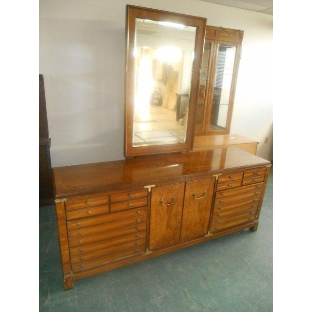 Lane Furniture Burl Maple Triple Dresser & Mirror - Image 2 of 8