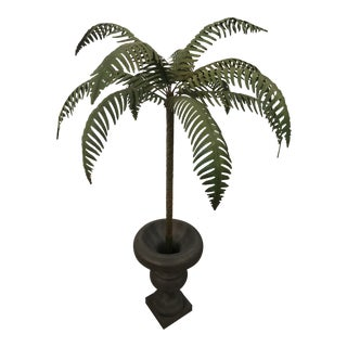 Vintage Hollywood Regency Palm Beach Metal Tole Palm Tree Urn Planter For Sale