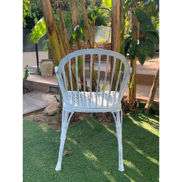 20th Renaissance Revival Style Cast Iron White Garden Chairs in Faux Bamboo - a Pair For Sale - Image 4 of 11
