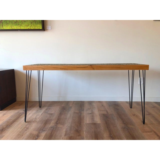 Vintage Wood Framed Tile Mosaic Sofa Table With Hairpin Legs For Sale - Image 4 of 13