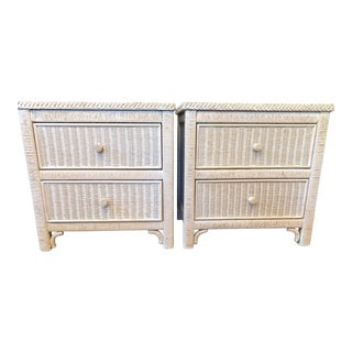 Henry Link Wicker Rattan Two Drawer Commodes For Sale