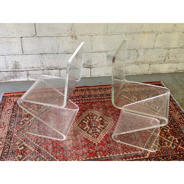 Contemporary Mid Century Modern Lucite Chairs, a Pair For Sale - Image 3 of 11