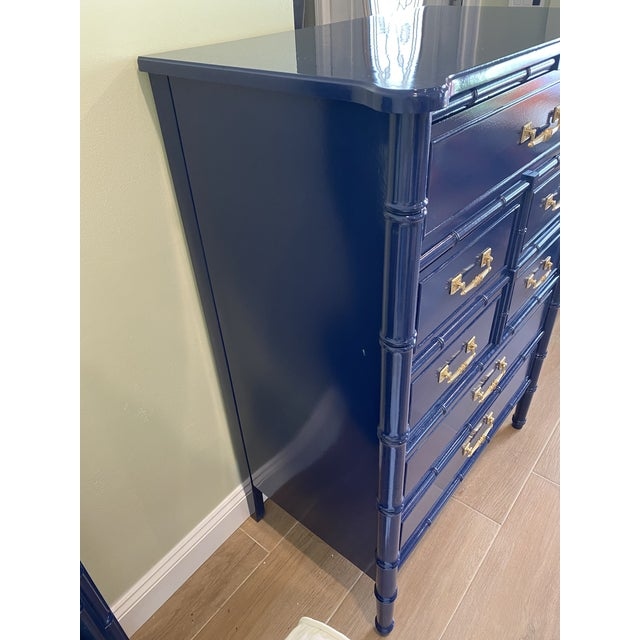 1960s Palm Beach Chic Faux Bamboo Tall Dresser Lacquered in Navy Blue With Gold Handles For Sale - Image 5 of 11