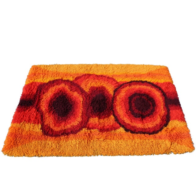 Fiber Mid-Century Modern Red Orange Rya Shag Area Rug Carpet 1970s For Sale - Image 7 of 7