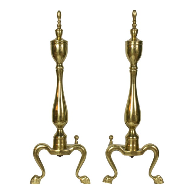 1920's Vintage Brass Andirons- A Pair For Sale