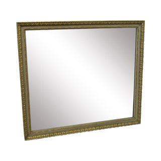 French Louis XV Style Large Partial Gilt Rectangular Vintage Wall Mirror For Sale