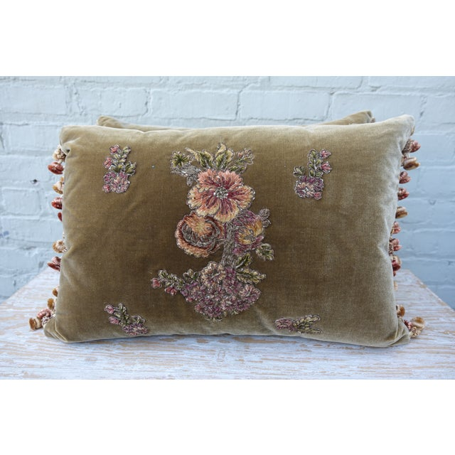 A Pair of Brown Silk Velvet Pillows with metallic & chenille embroidered floral applique surrounded by four smaller floral...
